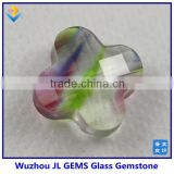 Four leaf colver glass bead and lucky clover wish stone for jewelry