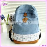 Fashion Floral Lace +Denim Canvas Women Bag Backpack School bag For Teenagers Ladies Girl Back Pack Schoolbag Bagpack