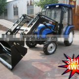 35hp,40hp 4wd turf tractor with mower,4cylinders,8F+2R shift,with Cabin,heater,fan,fork,blade