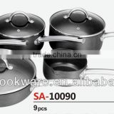 2015 New Products 9PCS High Quality 2.5mm Hard Anodized Aluminium Saucepan Set With Hollow Handle For Wholesale