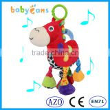 Babyfans Baby Cute Red Horse Cartoon Shaped Stuffed Music Educational Toys china factory wholesale
