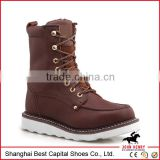 Men fashion safety boot/Goodyear working shoes/ high ankle rubber boots/ Brown leather safety shoes