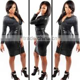 2015 dresses Imitation Leather Long Sleeve Zip Snake Plus Size Sexy Women's Tight Dress