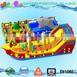 giant inflatable pirate ship playground,2 parts ocean park shark inflatable trampoline, pirate ship bouncy castle slide                                                                                                         Supplier's Choice