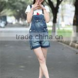 Korean Style Loose Ripped Denim Overalls Casual Denim Short Pants Suspenders Rompers Women Jeans