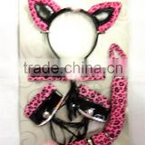Party pink laopard headband Cuffs Collar Tail set