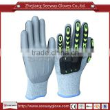 Seeway HHPE Anti-cut TPR impact protection work gloves with PU coating cut resistant