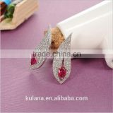 ED-57 Crystal Micro Paving Brass Material Top Quality White Gold Plated AAA Zircon Earring