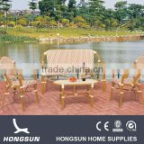 Alu frame bamboo look garden furniture set