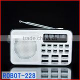 Robot-228u Hi-FI ultra-thin portable mini usb radio,card speaker,Digital audio player