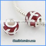Wholesale Red Color Sterling Silver Cheap Enamel Charms BES46B