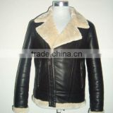 Men's pu leather jacket with fur bonded ling