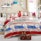 hot sale wholesale plain stripe design 100% cotton lovely rabbit cartoon printed comfortable red bedding set duvet cover