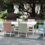 Rattan wicker Dining furniture, full aluminum dining table, round rattan fun color chair