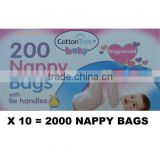 1000 Disposable Baby Fragranced Lemon Nappy Bags Hygienic Sack With Tie Handle