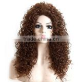 "24"" Afro Wig Long Curly Brown Hair Wig African American Wig For Black Women Heat Resistant Synthetic Fake Hair Natural Wigs"