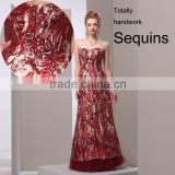 Bling bling rose red formal gowns heavy beaded sequin shinning sparkle luxury evening dress/embroidered beaded tulle fabric