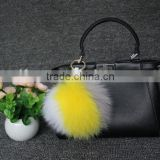 customized multi-colors real fox fur pompon good quality low prices for bag charm knit beanie keychain fashion accessories