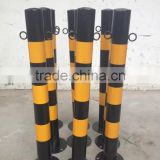 Black and yellow steel warning column