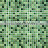 Dark green mix light green enamel mosaic building construction material kitchen backsplash tile design