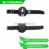 Compass Flashlight Rechargeable LED Watch Waterproof Wrist Watch Lamp Outdoor 200LM 4 Modes