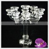 8 Arms Crystal Pillar Candle Holder For Wedding Centerpiece