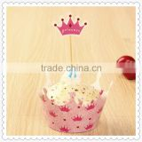 Wholesale paper cupcake wrappers toppers for girls birthday party supplies