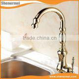 Antique Brass Golden Hand Wash Basin Mixer Faucet curved