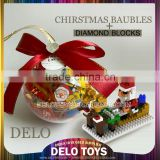2015 New Year wholesale Decorative ornament gift Bauble christmas hanging ball plastic diamond building block santa/tree/snowman