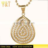 Fashion hip hop gold jewelry crystal drop shape urn pendant for necklace decoration wholesale