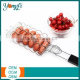 Metal Mesh Baskets Sausage Nonstick Grilling Basket Hot Dog Grill Rack BBQ Barbecue Tool