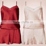 Wholesale Sleepwear Women Fashion Sexy Silk Stain Sleepwear Pajamas Set Wholesale Custom Made in China Teen Girls Sexy Sleepwear