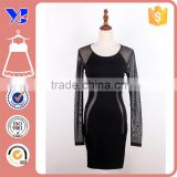 Elegant Sexy Long Sleeve Mesh Patchwork Fine Gauze Stitching Keyhole Little Pencil Dress Black