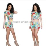 2014 Women Short Ladies Rompers Two Piece set and Crop top Evening Club Dress Casual Floral Printed Sexy Bodycon Jumpsuit