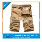 100% cotton twill fabric kahaki silicone washed mens cargo shorts/pants with side pockets
