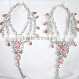 Silver tone Pink crystal pearl Anklets toe ring barefoot sandal PAYAL