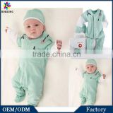 100% Cotton Newborn Baby Boy Small Doctor Dress Up Romper Mint Green Long Sleeves Cute Party Wear Baby Clothes