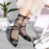 WS-4 Sexy Breathable Silk Heap Heap Soft Elasticity Black Fishnet Lace Flower Mesh Ankle Fashion Socks Summer Style