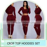 2016 New Women's Hole Crop Top Hoodie Set ,Christmas sweater ,2Pcs Plain Tracksuit Woman Active Hoodies Sweatshirt Tracksuits