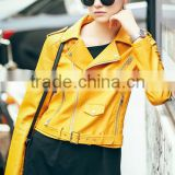 latest models yellow womens motocycle cool fashion leather jacket