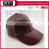 6 panel blank baseball cap leather strap back hat