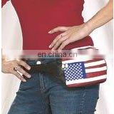HMB-1002A, LEATHER FANNYPACK BAG BELT POUCH BLACK USA FLAG