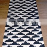 Vishal Handicraft-Handmade Cotton Lattice Black & White cotton Hand Woven Floor throw Carpet-100x32'