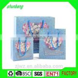 2015 recycled flower pattern blue color customized paper tote bag