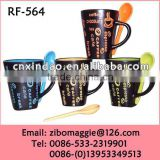 V Shape Professional Zibo Made Good Quality Promotion Colorful Porcelain Coffee Mug with Spoon
