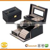Black Leather Jewelry Box Lockable Makeup Storage Case with Mirror