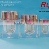 15g 30g 50g Square right angle double layers acrylic facial cream jars / containers with clear outer and golden inner cap