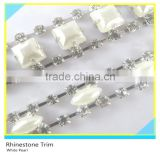 Fancy Crystal Trimming Rhinestone and Pearl Cake Trim Silver Cup Chain mix 888 Crystal