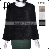 Factory direct wholesale price round neck rex rabbit knitted fur coat