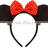 Mouse Ears & Bow Headband - Fancy Dress Costume Mickey Minnie H142